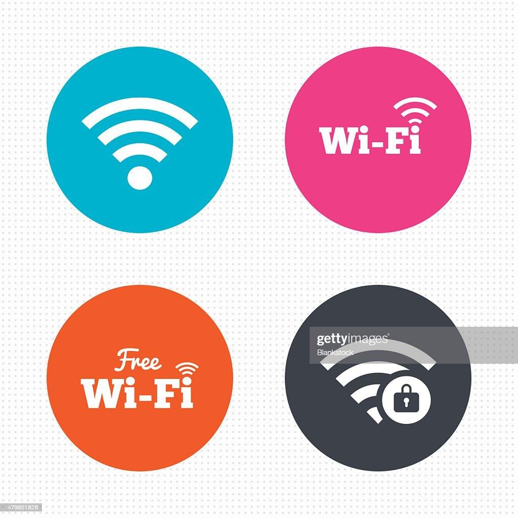 Wifi Wireless Network icons. Wi-fi zone locked