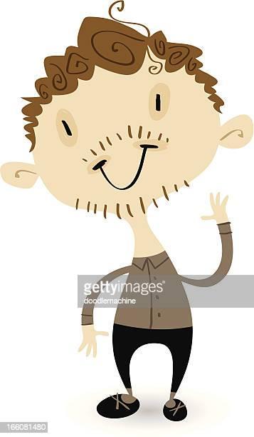 ilustrações, clipart, desenhos animados e ícones de wigglyfolk-cara feliz - cartoon characters with curly hair