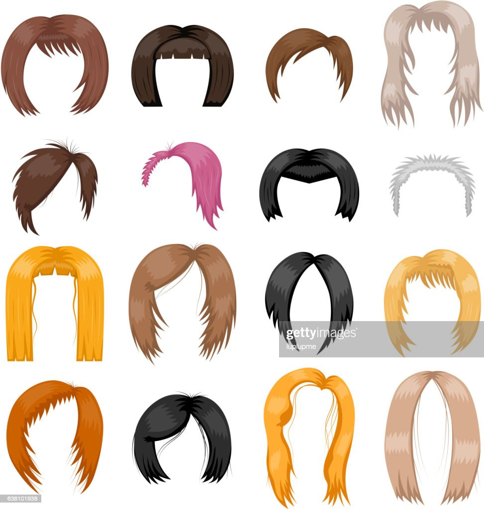 Wigs hairstyle vector illustration.