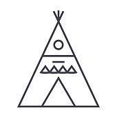 wigwam illustation vector line icon, sign, illustration on background, editable strokes