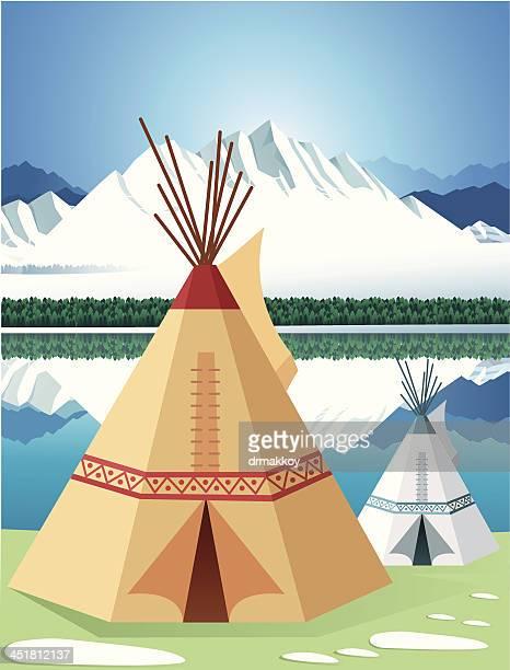 wigwam - teepee stock illustrations
