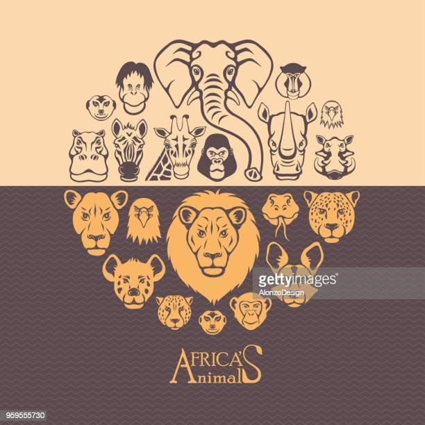 wild africa - mandrill stock illustrations, clip art, cartoons, & icons