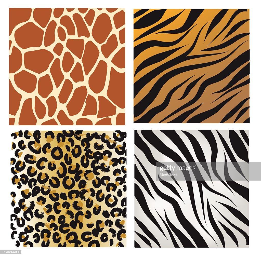 Wild African animals pattern set vector illustration
