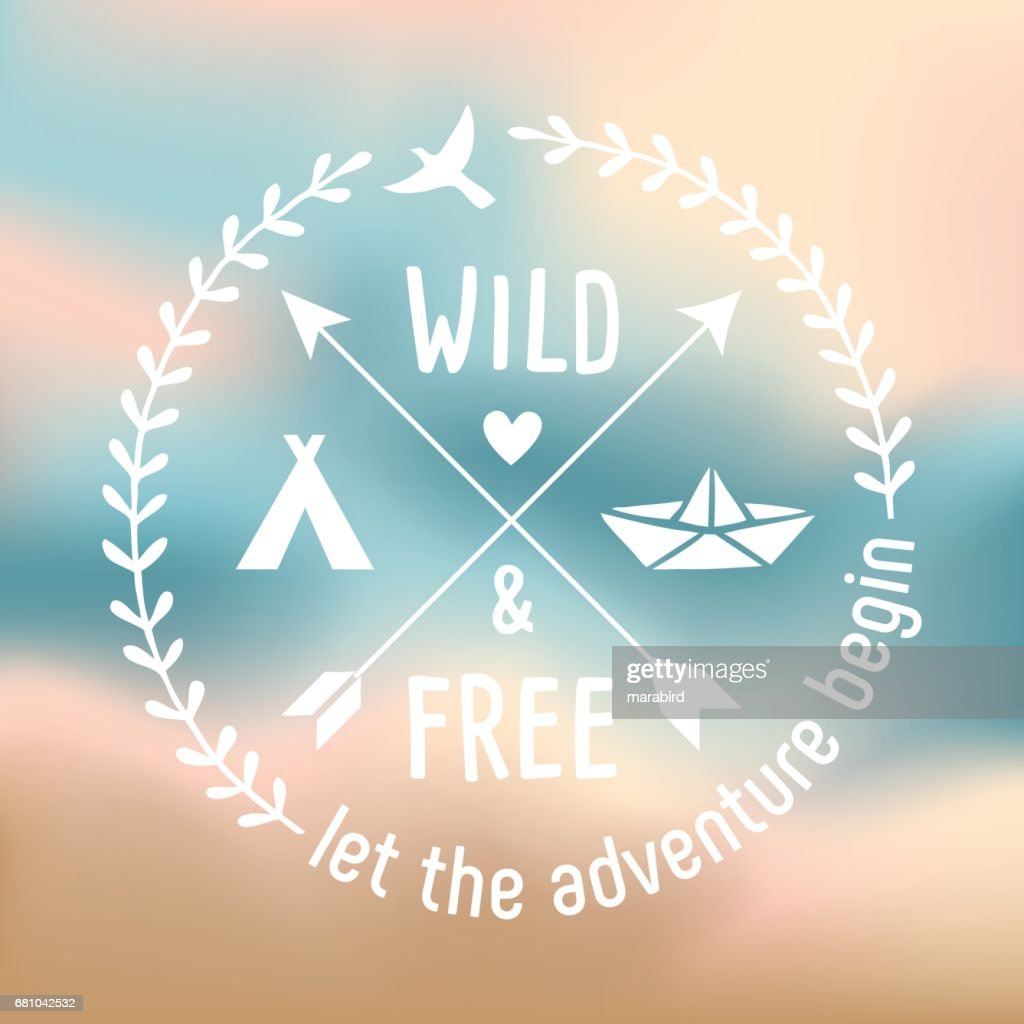 Wild And Free - Label Design For The Romantic Travellers : stock illustration