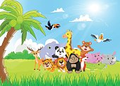 Wild Animal cartoon in the sunny garden