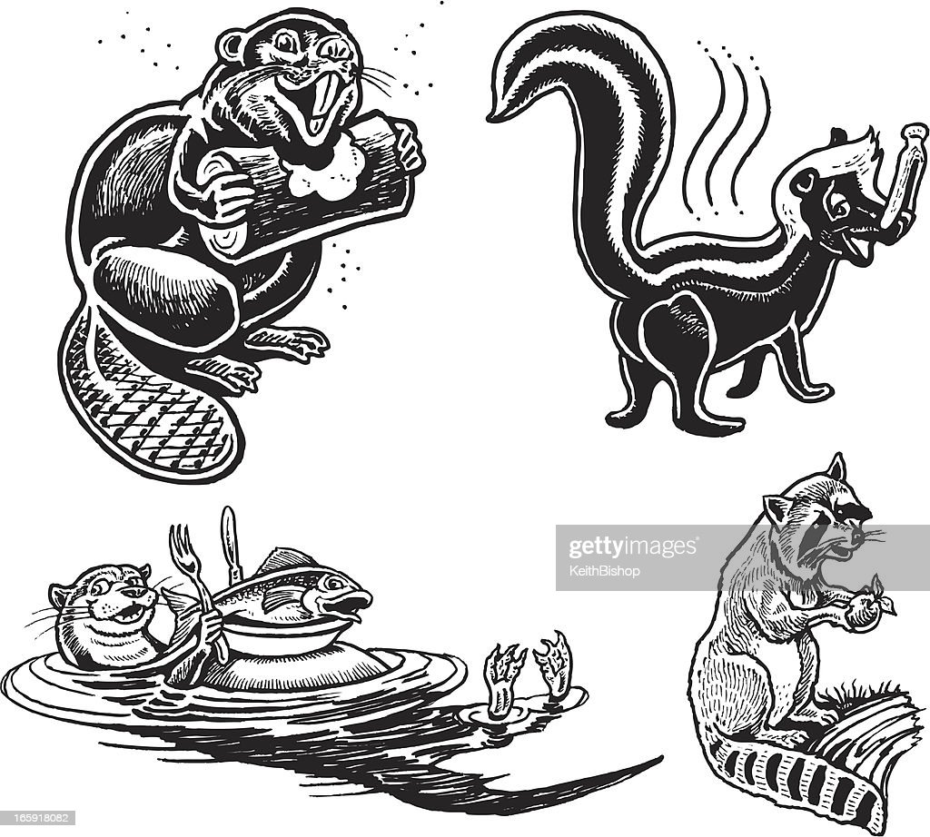 Wild Animal Cartoons Beaver Skunk Otter Raccoon Vector Art