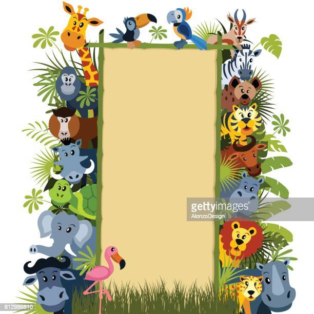 wild animal characters - flamingo stock illustrations, clip art, cartoons, & icons