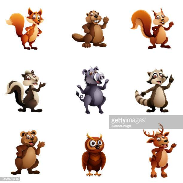 wild animal characters - squirrel stock illustrations