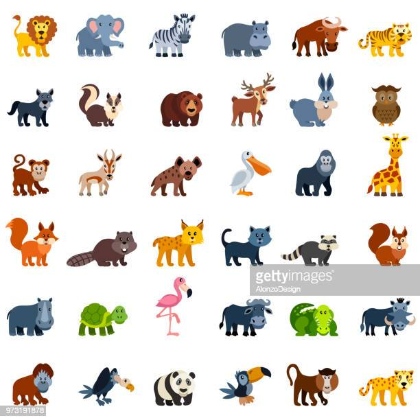 illustrazioni stock, clip art, cartoni animati e icone di tendenza di wild animal characters - animal