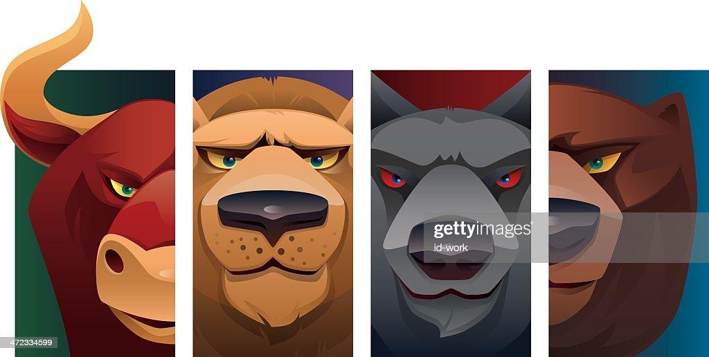 wild animal heads