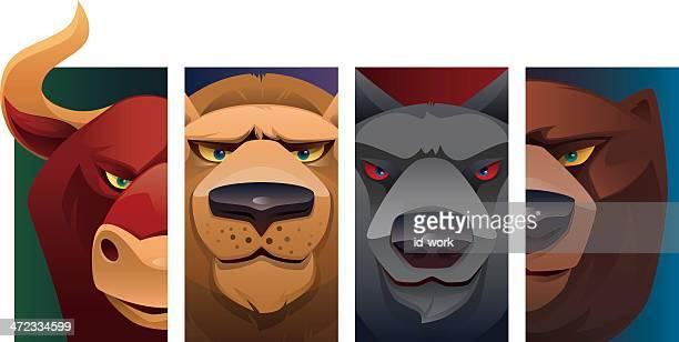 ilustraciones, imágenes clip art, dibujos animados e iconos de stock de cabezales de animales salvajes - oso pardo