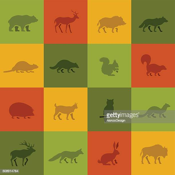 wild animal icons - european bison stock illustrations, clip art, cartoons, & icons