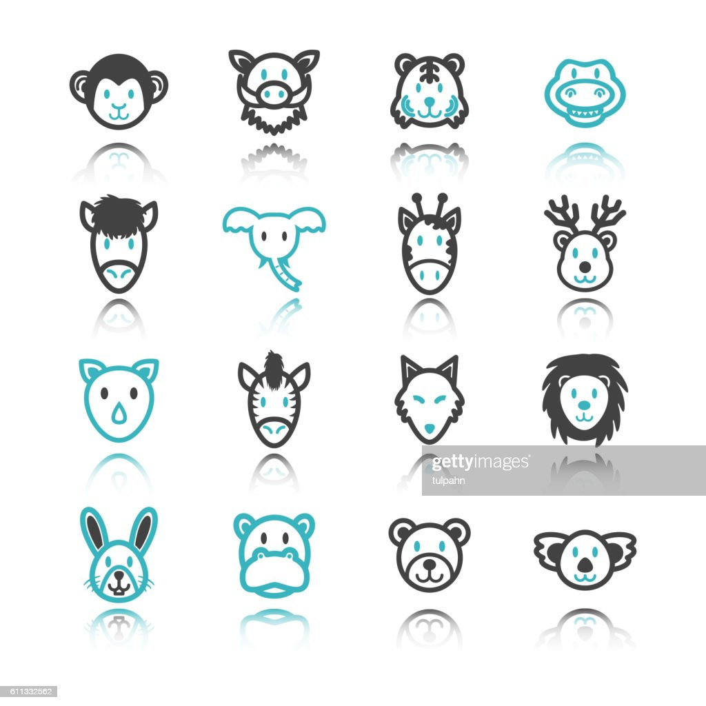 wild animal icons with reflection