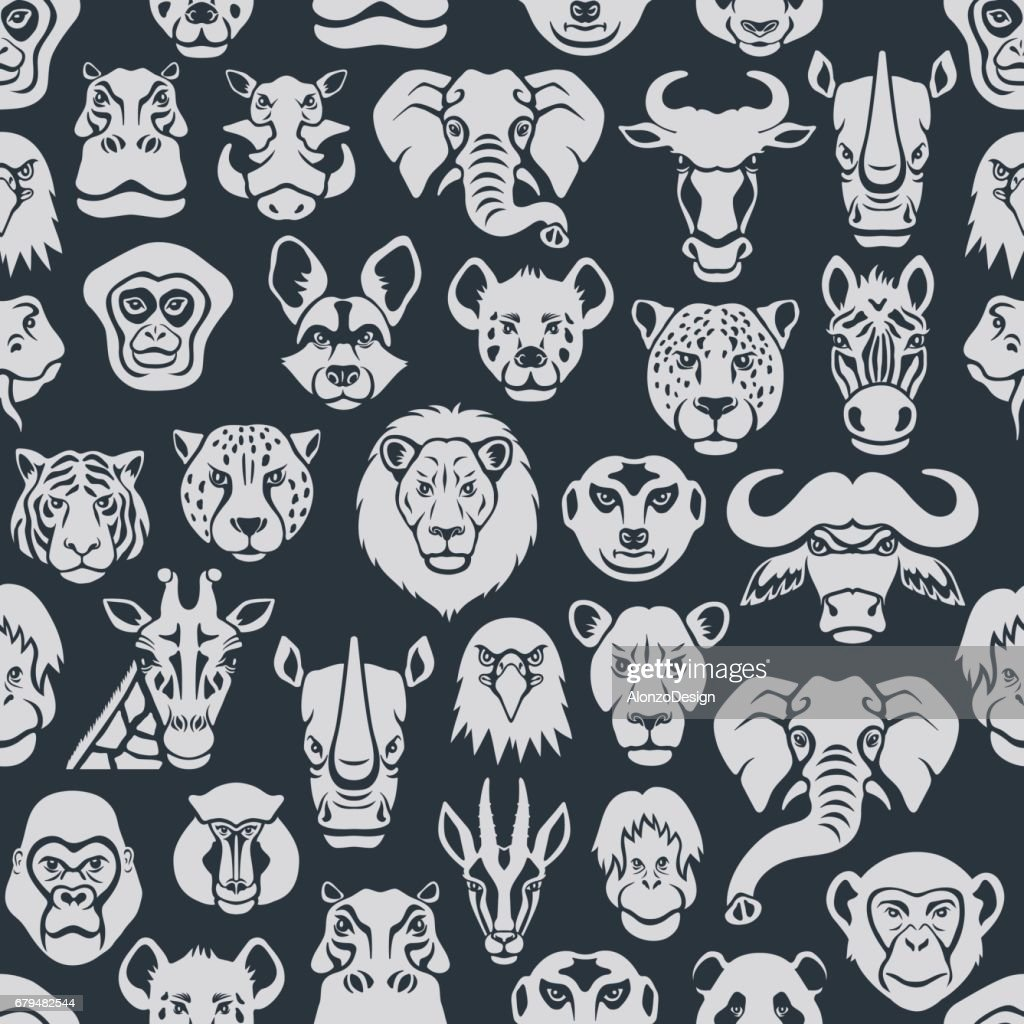 Wild Animal Seamless Pattern : stock illustration