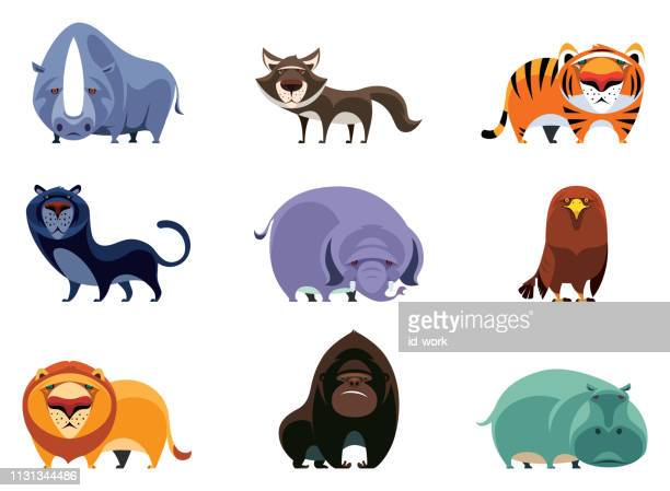 wild animals characters - hippopotamus stock illustrations, clip art, cartoons, & icons