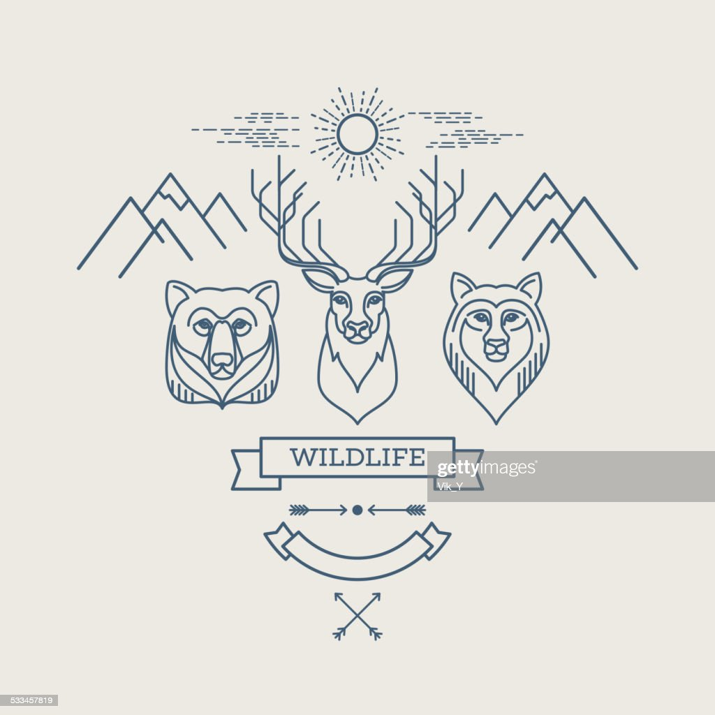 Wild animals. Flat line illustration