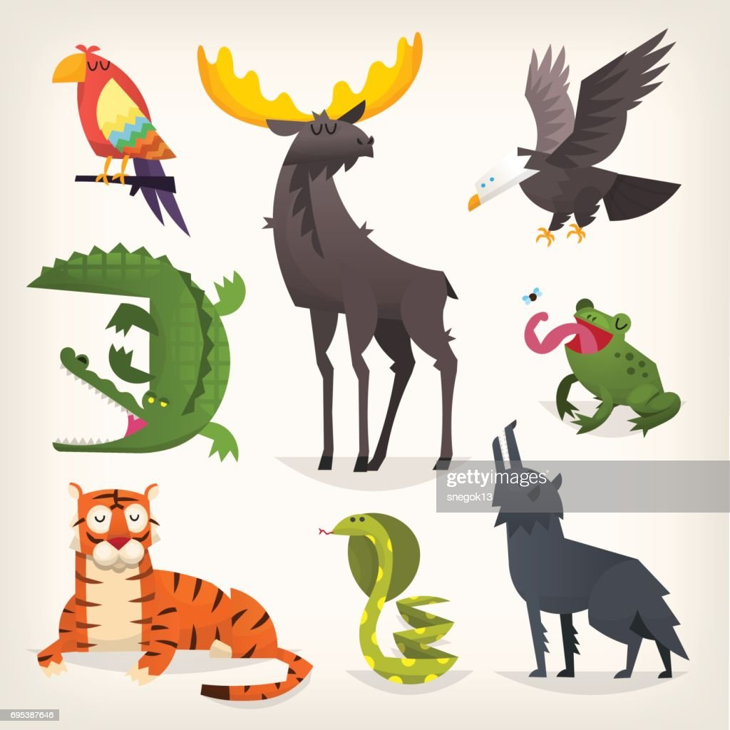 Wild animals from savannah, desserts and woods