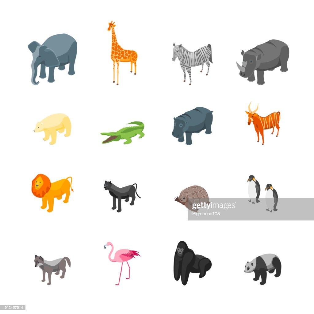 Wild Animals Icons Set Isometric View. Vector