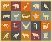 Wild animals icons set