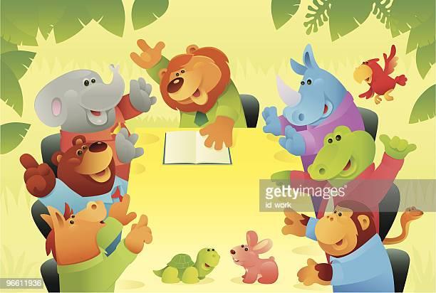 ilustraciones, imágenes clip art, dibujos animados e iconos de stock de los animales salvajes en jungle reunión de junta - grupo grande de animales