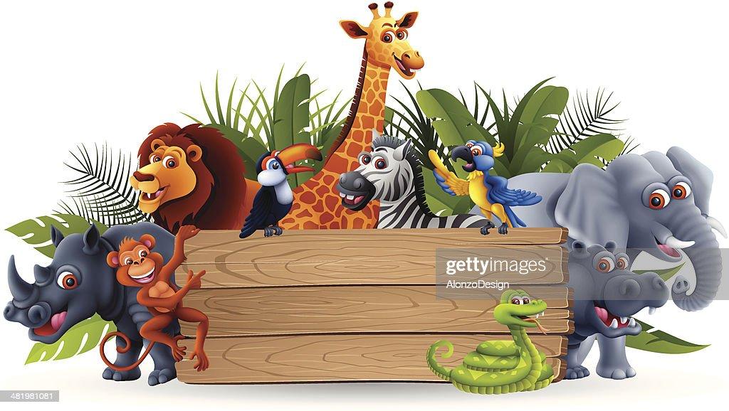 Wild Animals with Banner : stock illustration