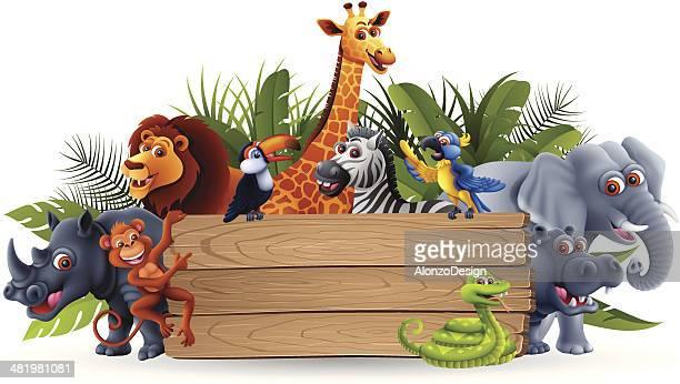 Wild Animals with Banner