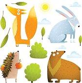 Wild baby animals clip art collection fox rabbit bear hedgehog