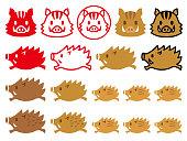 wild boar illustrations.