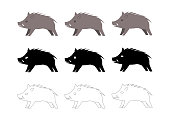 wild boar vector illustration: icon