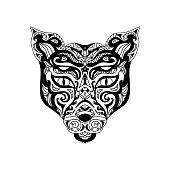 Wild cat head