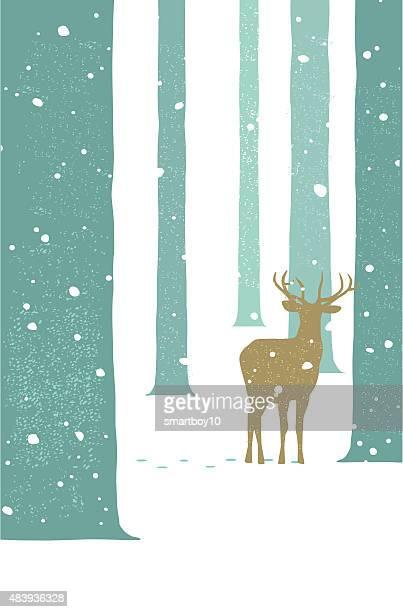 illustrations, cliparts, dessins animés et icônes de cerfs sauvages dans la campagne en hiver - biche