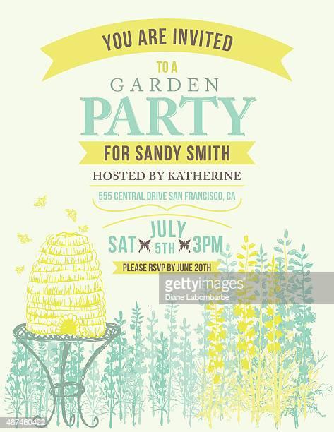 illustrations, cliparts, dessins animés et icônes de fleur sauvage ruche invitation template pour garden party ou une célébration - ruche