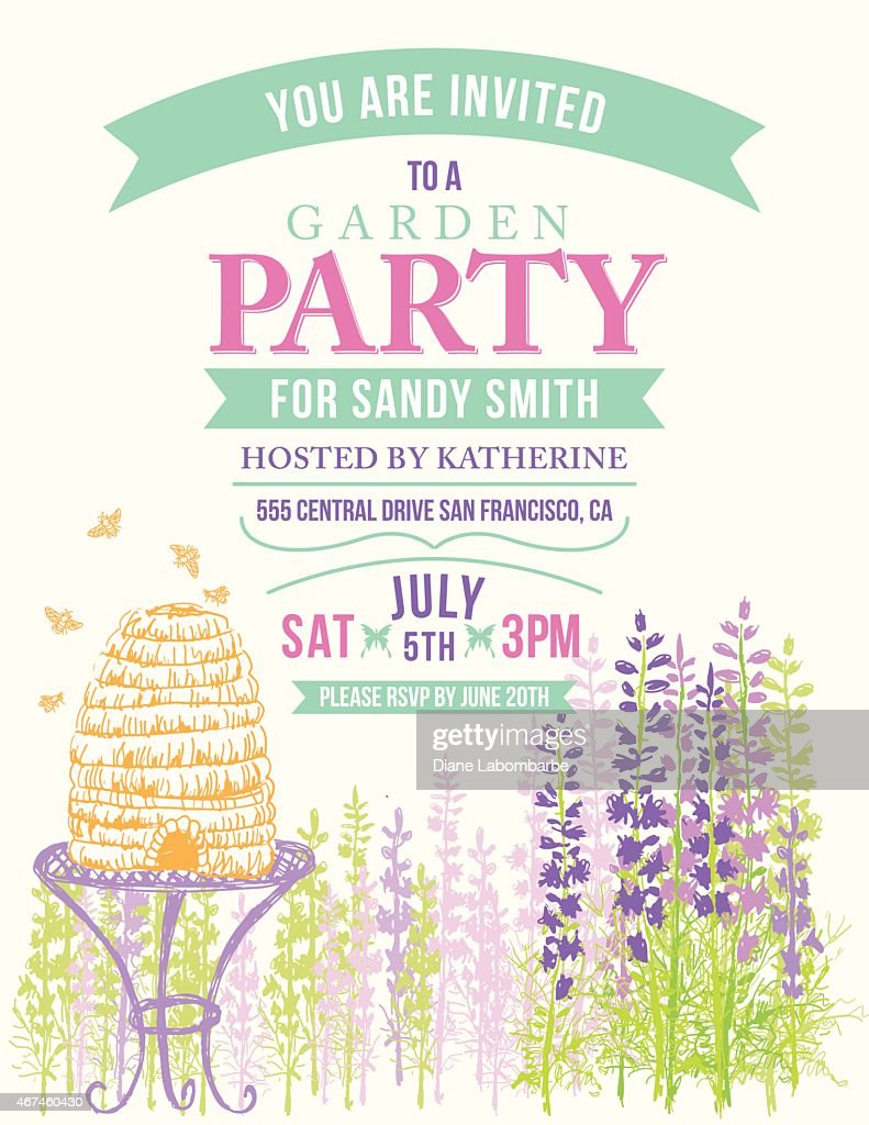 Wild Flower Beehive Invitation Template For Garden Party Or ...