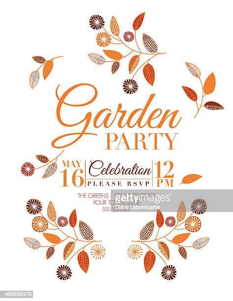 Wild Flower Design Garden Party Invitation in Orange and Brown