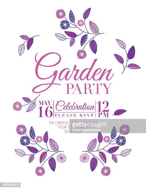 Wild Flower Design Garden Party Invitation in Purple and Pink