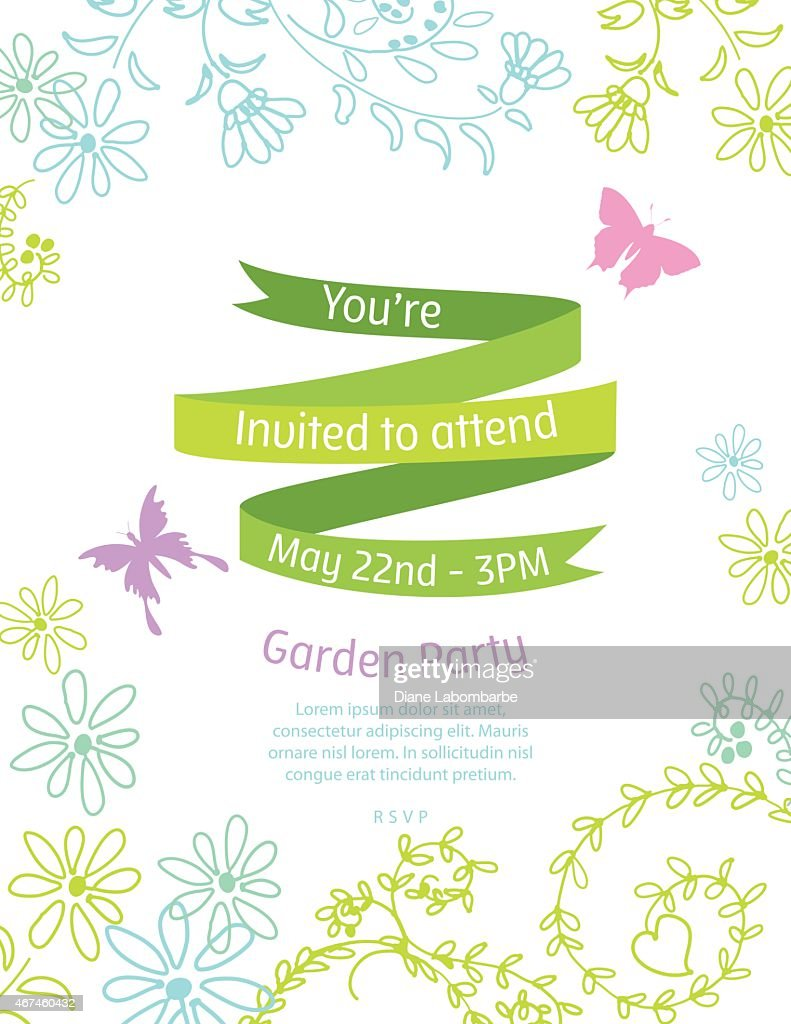 Wild Flower Invitation Template For Garden Party Or Celebration ...