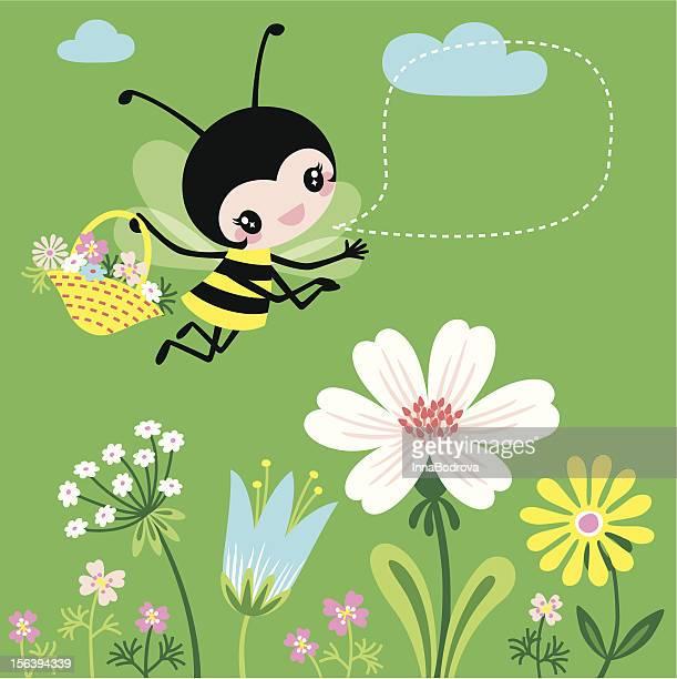 野生の花とハナバチ - 野生の花点のイラスト素材/クリップアート素材/マンガ素材/アイコン素材