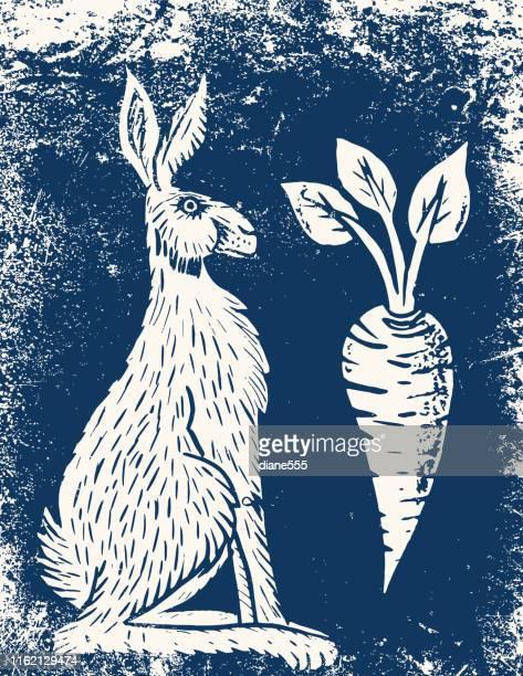 wild hare linocut - living organism stock illustrations, clip art, cartoons, & icons
