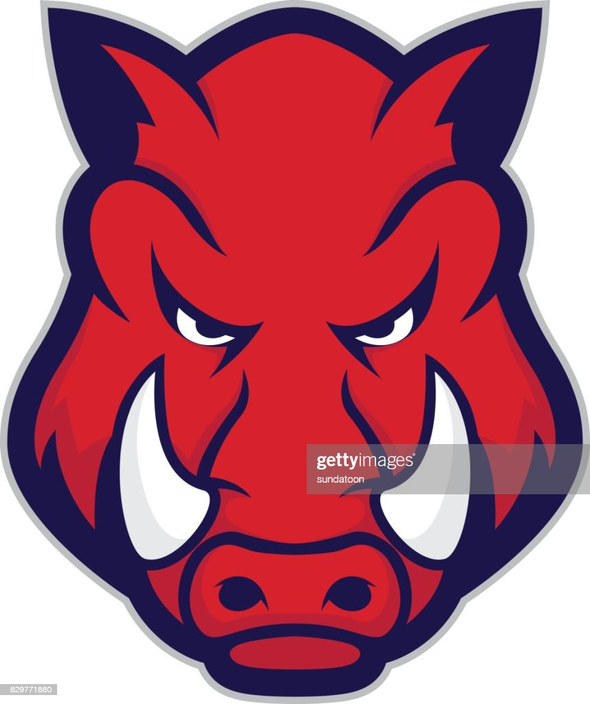 Wild hog or boar head mascot