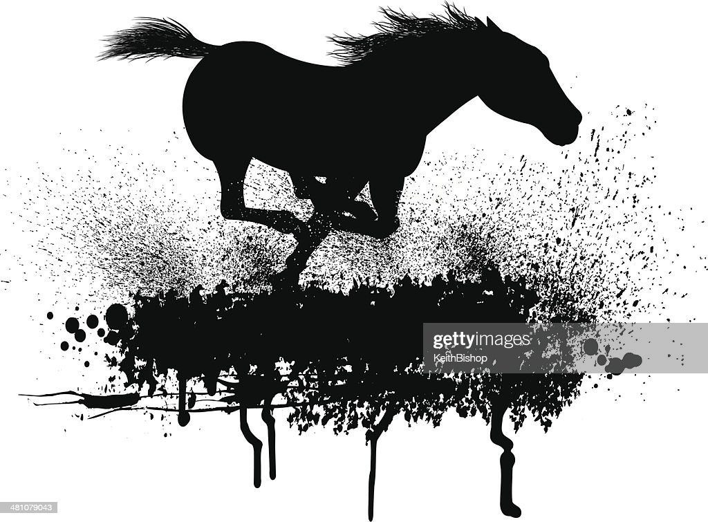 Wild Horse Running Grunge Graphic High-Res Vector Graphic ...