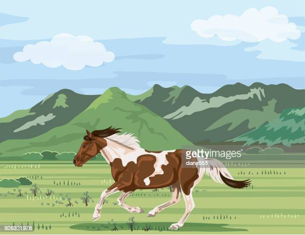 wild horse running. utah mountains - utah stock illustrations, clip art, cartoons, & icons