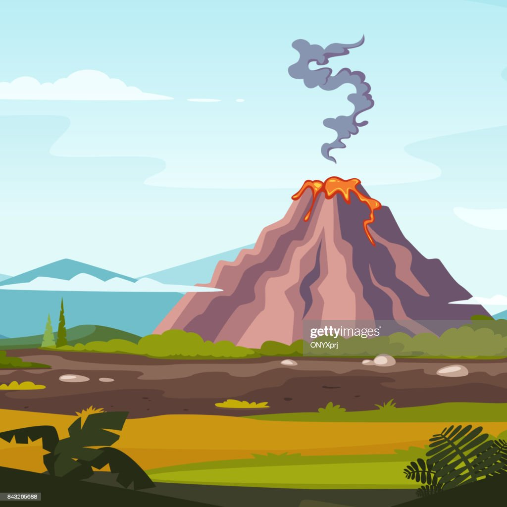 Wild landscape with volcano and lava. Cartoon background for game design projects