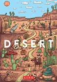 Wild life in desert illustration