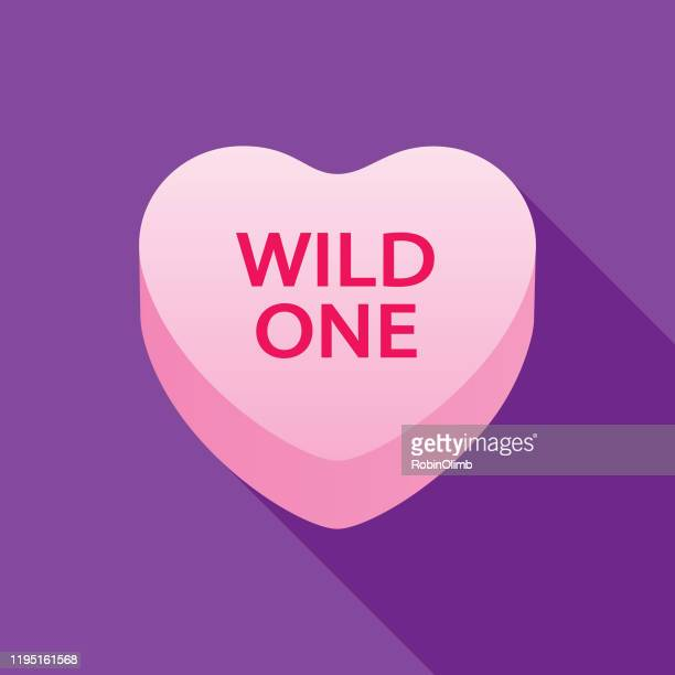 wild one valentine candy heart icon - passion stock illustrations