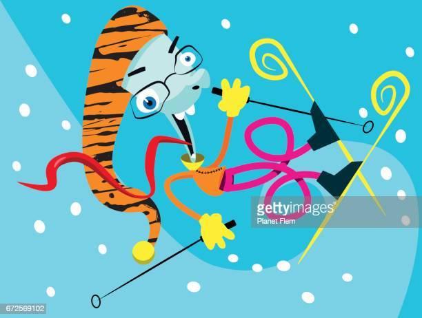 illustrations, cliparts, dessins animés et icônes de wild skieur - ski humour