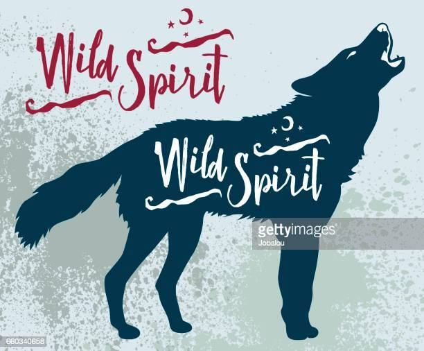 wild spirit wolf - howling stock illustrations, clip art, cartoons, & icons