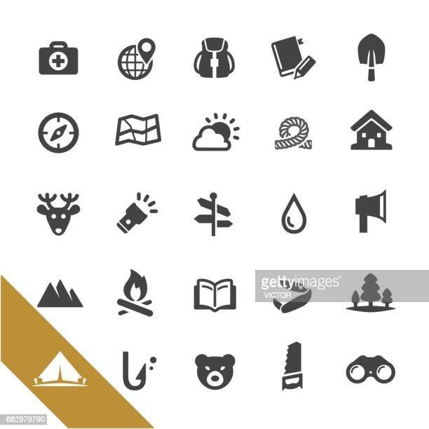 wild survival icons - select series - head above water stock illustrations