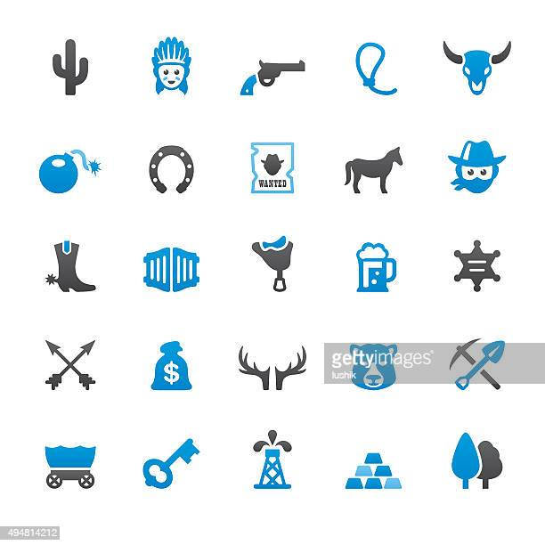 wild west and cowboy related vector icons - gold rush stock illustrations