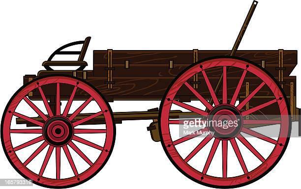wild west chuck wagon - horse cart stock illustrations, clip art, cartoons, & icons