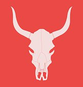 Wild west cow skull with horns. Chalk
